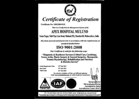 Apex Hospitals Mulund Certification
