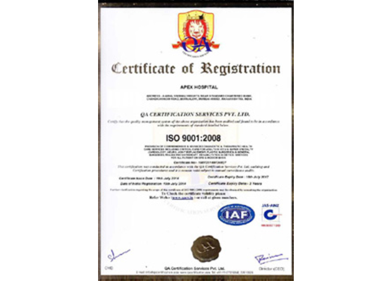Apex Hospitals ISO 9001:2008 certification