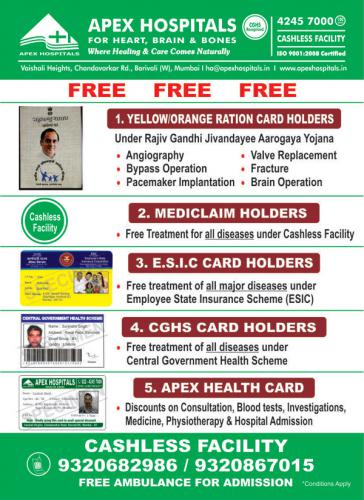 Free Operation Under Various Schemes At Apex Hospitals Borivali