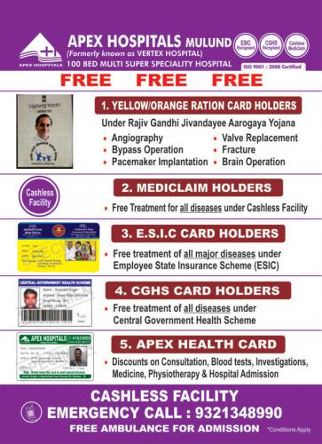 Free Operation Under Various Schemes At Apex Hospitals Mulund