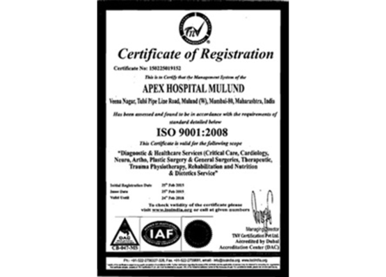 Apex Hospitals Mulund Certification