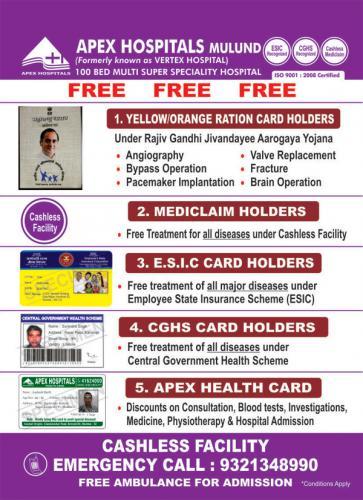 Free Operation Under Various Schemes At Apex Hospitals Mulund